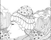 Mother Earth Adult Coloring Page Book Color Colouring Whimsical Delena Illustration Colour