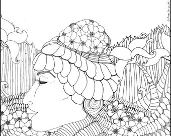 mother earth adult coloring page adult by DelenaBritnellArt