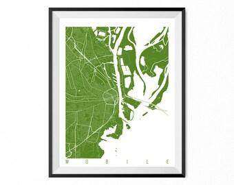 Mobile City Map Art Print / Mobile Poster / Mobile Wall Art / Alabama Gift/ Alabama home decor