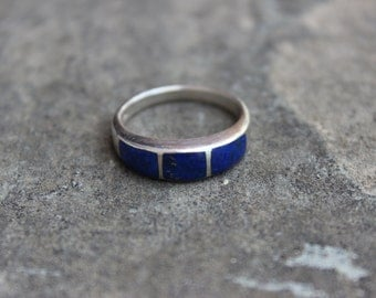 Vintage Sterling Silver and Lapis Stacking Ring