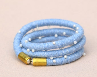 Blue Fabric Wrap Bracelet, Big Cord Bracelet, Statement Bracelet, Boho Cotton Bracelet, Beaded Textile Rope Bracelet, Gift For Her
