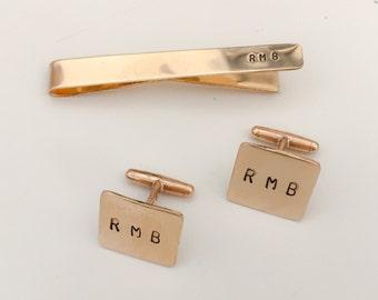 Gold Tie Clip and Cufflinks Set Personalized / Monogram Mens Gift Set/ Custom Groomsmen Gifts