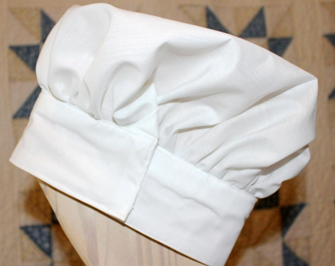 Child's Chef Hat. White. Adjustable with Velcro. Fits ages 2 to 6.