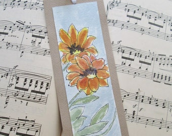 Pen and Ink and Watercolor Orange Flower Bookmark Original Watercolor Painting on Heavy Watercolor Paper and Cardstock with Ribbon