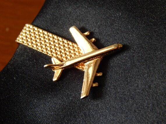 vintage gold tone airplane tie clip pilot boeing