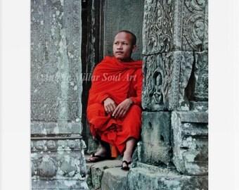 Cambodia - Fine art photography - Travel photography - Buddhist monk - Asian decor - Asian wall art - Zen decor - Buddhism - Temple art