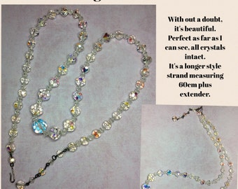 Long AB CRYSTAl Necklace with extender