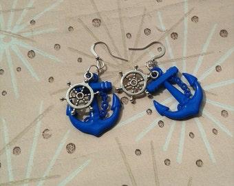 Nautical Anchor Earrings,Rockabilly Earrings,Pin Up Jewelry,Rockabilly Anchor Earrings,Sailor Earrings, Vintage Tattoo Inspired Jewelry