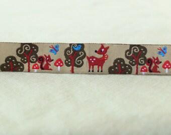 Woven Ribbon, deer, squirrel