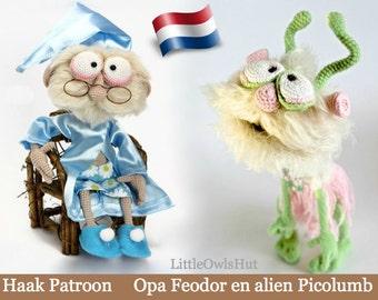 058NLY Opa Feodor en alien Picolumb  - Amigurumi Haak Patroon - PDF by Astashova Etsy