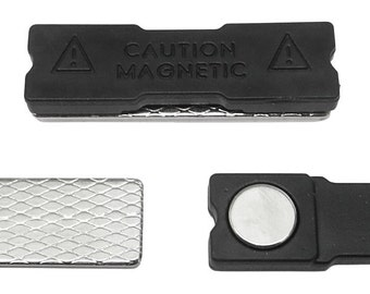 Magnetic Name Tag/ID Badge Holder, Strong Fastener with Adhesive on Front Plate (Black) 100-Pack