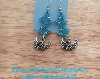 beaded earrings with charm dangle New Handmade