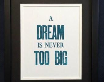 Letterpress Print: Dream Big
