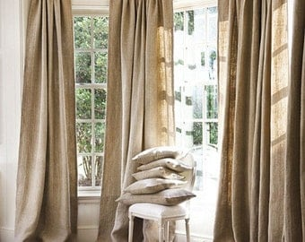 Flash Fall Sale Clearance -All Natural Burlap Curtains, Burlap Window Treatments, Burlap for living room, bedroom