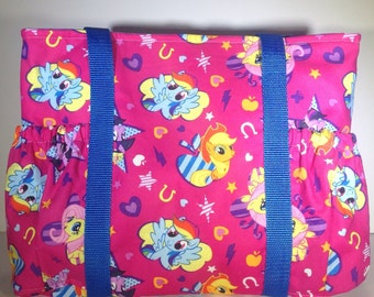My Little Pony tote, My little Pony Sleepover bag, My Little Pony Diaper Bag, MLP Overnight bag, carry on bag, gift for he