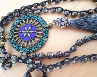 Long tassel crochet necklace, Boho chic necklace, Mandala, Beaded necklace, Bohemian jewelry, Rhinestone tassel, Layering necklace.