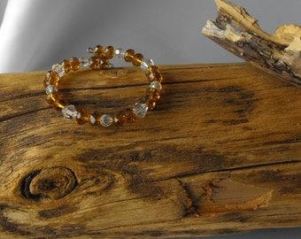 Memory Wire Bracelet - Topaz and Crystal - Crystal Bracelet  (BD-898)