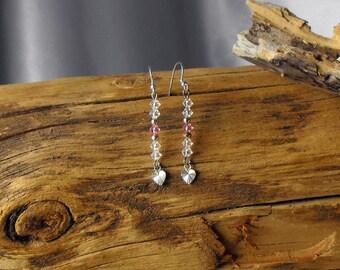 Sterling Silver and Swarovski Heart Earrings - Heart Earrings - Bridal Jewelry (BD-930)
