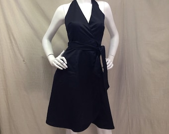 Black Wrap Dress 1970s Vintage Size Small S XS Extra Small Young Dimensions Saks Fifth Avenue