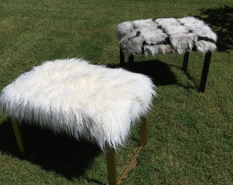 Made to order//Faux Fur Benches with Sled Base