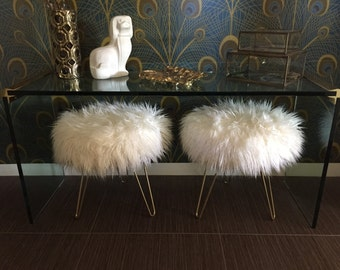 Made to Order// Custom Off White Mongolian Faux Fur Stool