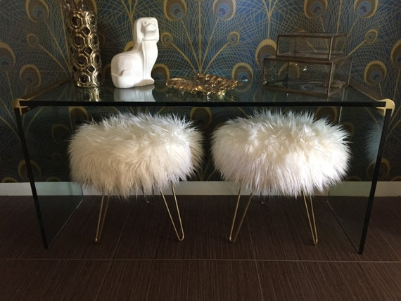 Gorgeous Off White Mongolian Faux Fur Stool With Hairpin Legs