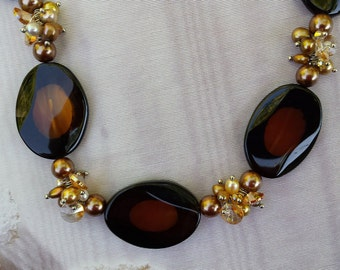 Brown Banded Agate, Pearl, Crystals Necklace