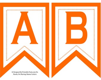 5x8 Inch Swallowtail Orange Printable Banner Letters
