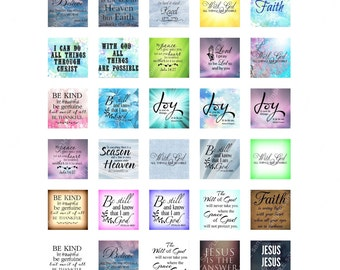Religious Sayings Quotes 1 inch Square 25mm Collage Sheet Printable Instant Download Jewelry Magnets Scrapbook Catholic