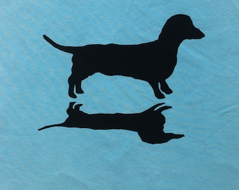 Dachshund and Shadow Handprinted Cotton Fabric Piece