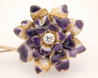 Enaral Flower Brooch/Pin With 0.40 C.T.W.