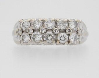 1.00 Carat T.W. Round Cut Diamond Wedding Band 14K White Gold Ring