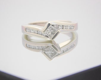0.50 Carat T.W. Princess & Round Cut Diamond Engagement Ring 14K White Gold