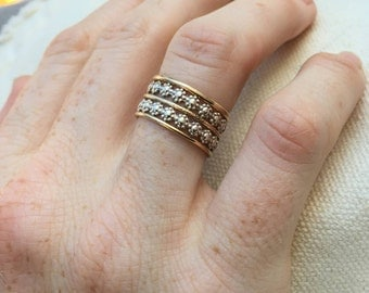 Mixed stacking rings / mixed metal / simple jewelry / sterling silver and gold filled / flower ring / unique / gift / everyday jewelry