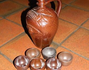 """JUG to CALVADOS and its 6 """"mock"""".  jug for calvados Vintage Calvados, the Apple Brandy French Barware Vintage Brewerania bottle"""