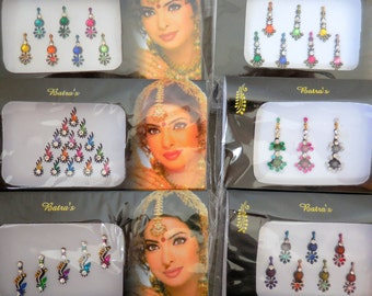 6 Packs- Big /Small Bindi Self Adhesive Indian Bollywood Belly Dance Tribal fusion face jewelry- P10