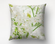 White Lilacs Pillow, Floral Decoration, 26x26 Pillow Cover, Green Throws, Housewarming Gift