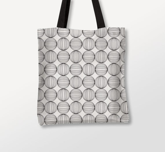 Circles Tote, Graphic Bag, Shoulder Bags, Black And White