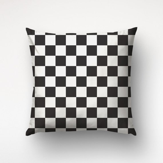 Checkered Pillow, Black And White, Nordic Decor, Geometric Pillows, Cover Only