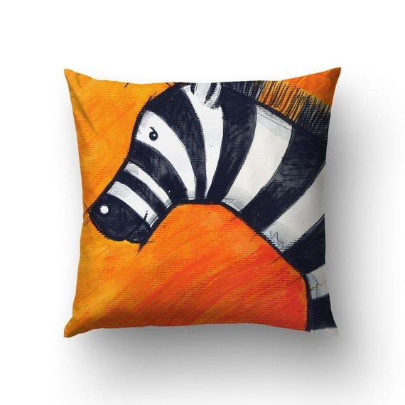 Zebra Illustration Throw Pillow, Zebra Pillow, Kids Pillows, Orange Decor, Animal Art, Nursery Pillow
