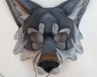 Leather Gray Wolf Mask Timber Wolf Mask