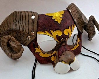 Ornate Brown Ram Mask Bighorn Sheep Mask