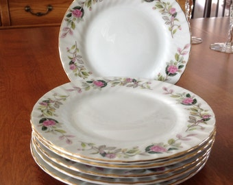 "Two (2) Creative REGENCY ROSE Pink 6"" Bread / Dessert / Tea Plates Swirl Rim (6 Plates Available)"