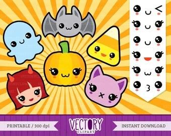 12 Halloween Kawaii Clip Art, Cute Halloween Clipart, Cute Ghost, Witch, Pumpkin, Candy Corn, Bat, Cat & Kawaii Emoticons by Vectory