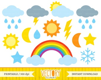 Weather Clipart Set, Sun, Rainbow Clipart, Clouds, Stars, Colorful Weather Clip Art set of 14 by VectoryClipart