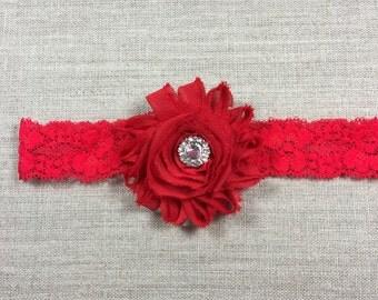 Newborn lace headband, Red flower lace headband, Red lace headband for baby,  Red lace headband for Girls, Lace stretch headband