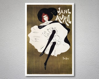 Jane Avril Vintage Entertainment Poster by Mauris Biais - Poster Print, Sticker or Canvas Print