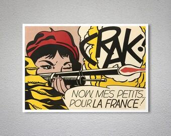 Crak, Roy Lichtenstein  Vintage Pop-Art Poster - Art Print - Poster Paper, Sticker or Canvas Print