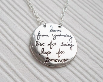 quote necklace, silver necklace, quote jewellery, silver jewellery, gift for women, word necklace, pendant necklace, inspirational jewellery