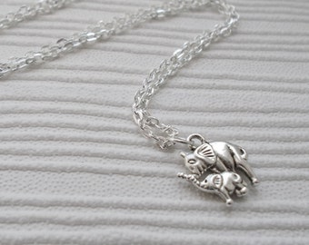 mother and baby elephant necklace fashion accessory silver necklace animal jewellery elephant charm necklace costume jewellery gift for her